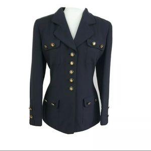 Rena Lange Military Inspired Gold Button Blazer